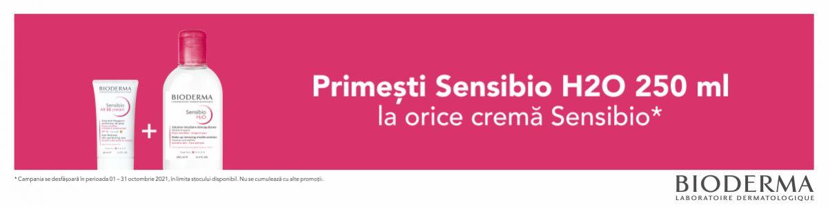 cu produs promotional la Bioderma Sensibio