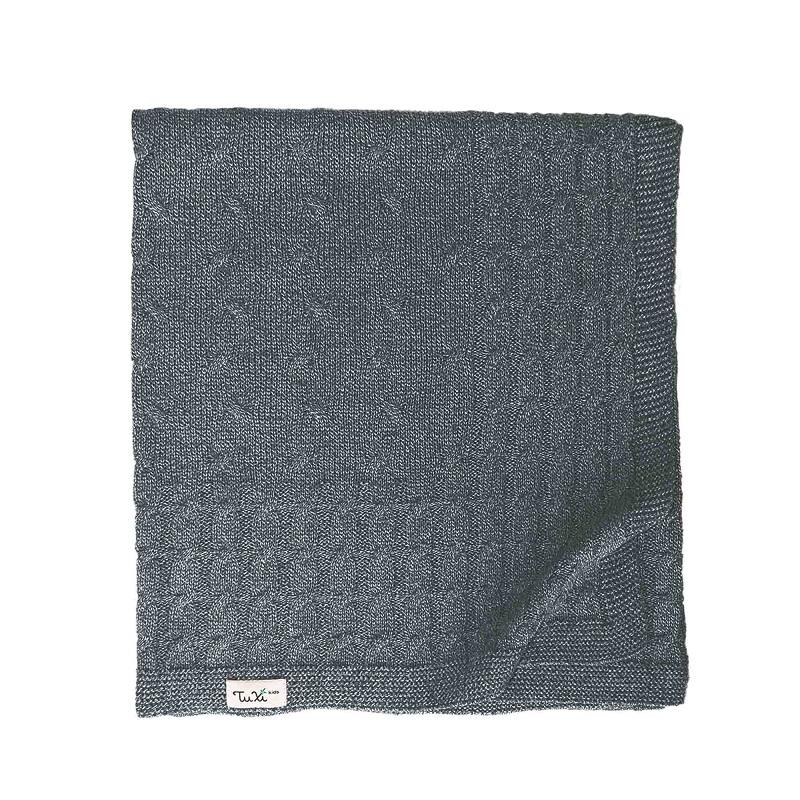 Păturica tricotată Cable 80x100Cm, Quiet Gray, Tuxi