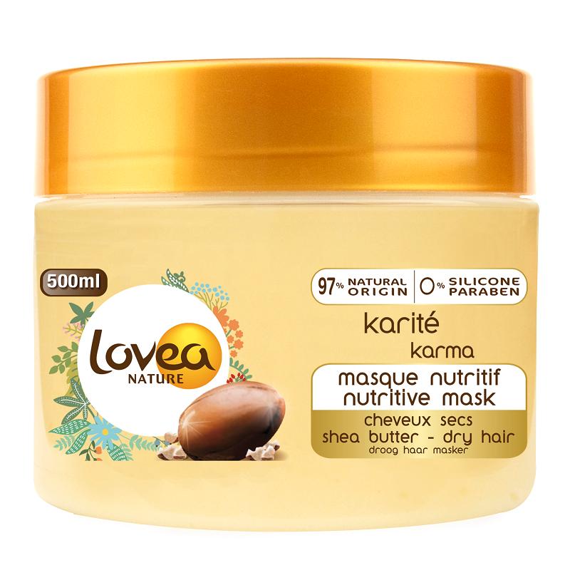Mască nutritivă cu unt de shea pentru părul uscat, deteriorat, rebel, 500 ml, Lovea