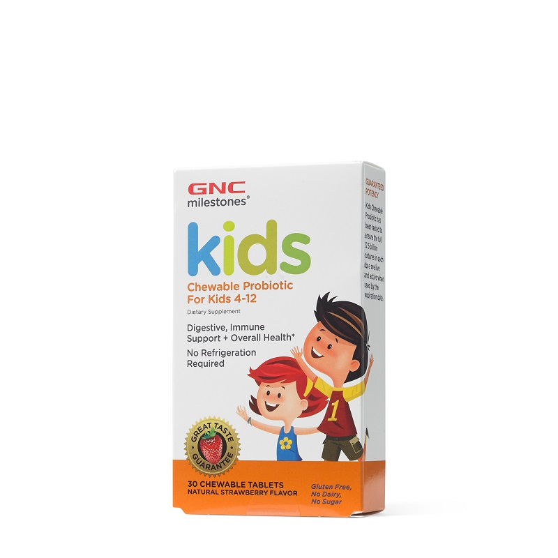 Probiotice masticabile pentru copii cu aromă de căpșuni, 4-12 ani, 30 de tablete, 424550, GNC Kids