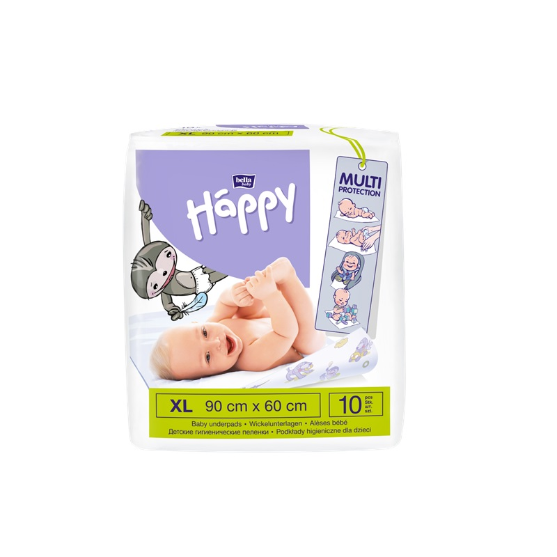 Aleze protectie pat Happy, 90x60cm, 10 buc, Bella Baby