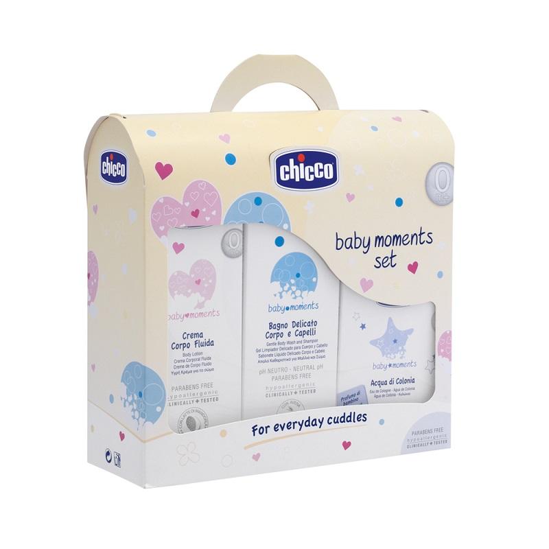 Ofertă pachet Șampon, Gel de dus, Loțiune și apă de colonie, Baby Moments, 03208-9, Chicco