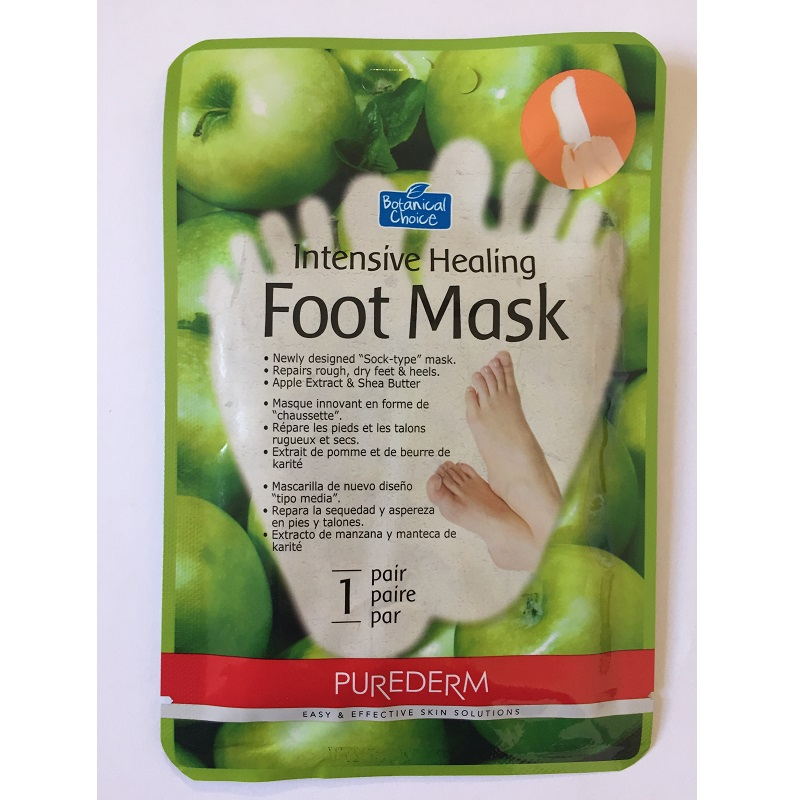Mască tratament intensiv de picioare cu Unt de Shea, Ulei de mentă și Extract de mere, 16 g, Purederm
