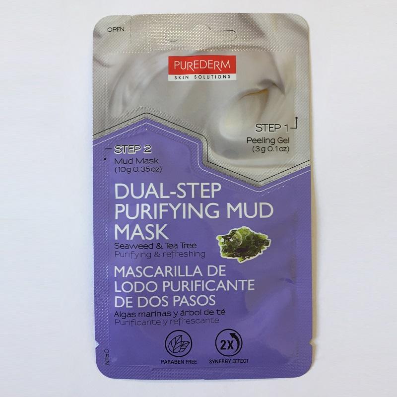 Mască peel-off + argilă, purifică și reîmprospătează 2 pași , alge marine și arbore de ceai, 3g+10g, Purederm