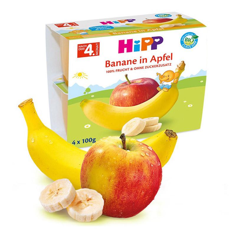 Gustare cu fructe mere și banane, 4x100 g, Hipp