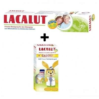 Pastă de dinți Lacalut Kids 4-8 ani, 50 ml + Apă de gură Lacalut Kids Plaque Test, 50 ml, Theiss Naturwaren