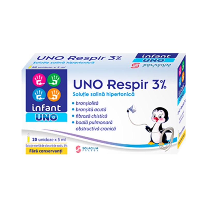 Respir Soluție sterilă de clorură de sodiu 3%, 5ml x 20 doze, Infant Uno
