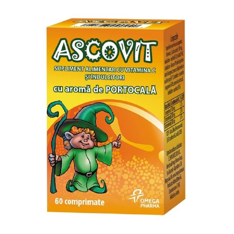 Ascovit Vitamina C cu aromă de portocale, 60 comprimate, Omega Pharma