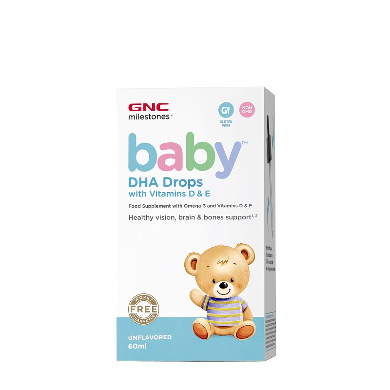 Baby DHA picături cu vitamina D si E, 60 ml, 42681, GNC