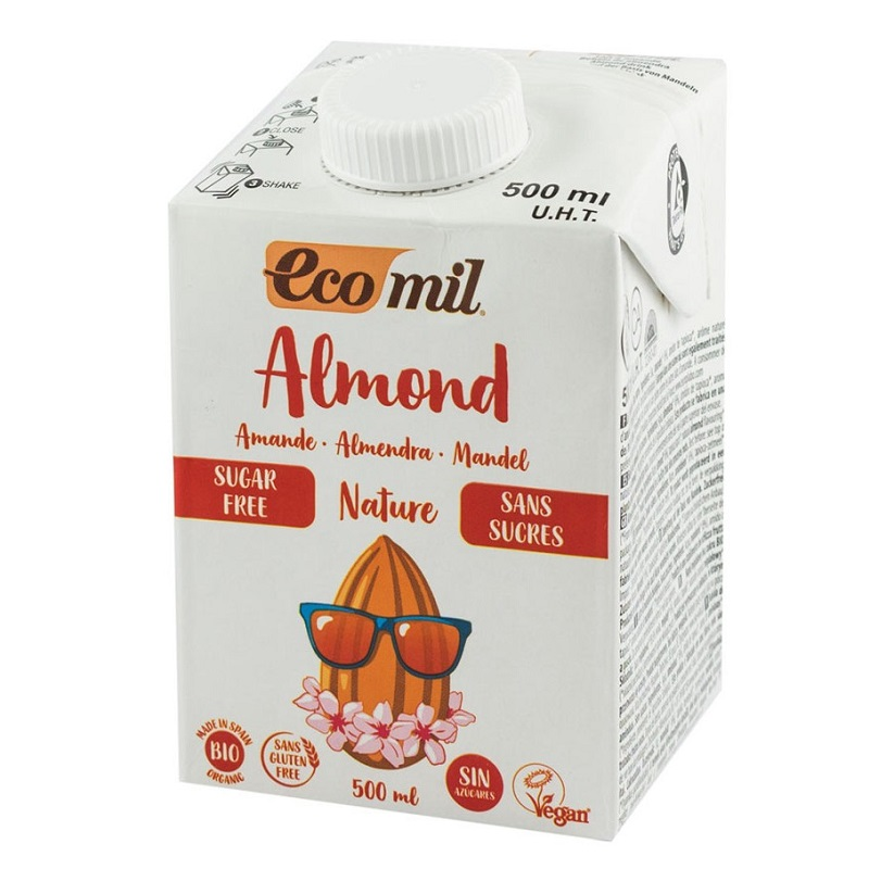 Băutură vegetală de migdale, neîndulcită, hipocalorică, ecologică, 500 ml, Ecomil