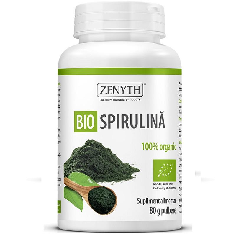 Bio Spirulină organică pulbere, 80g, Zenyth