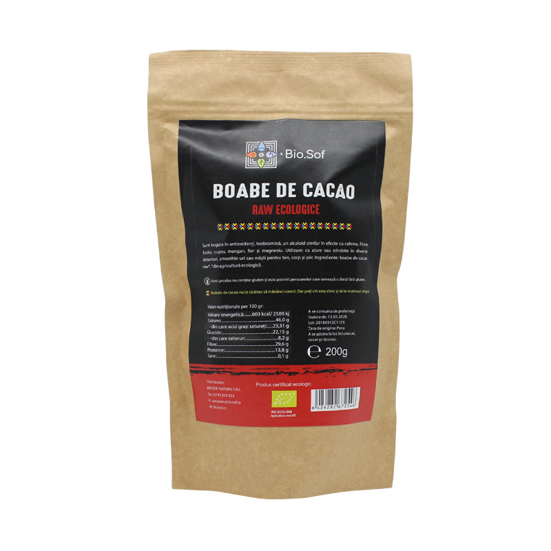 Boabe de cacao, Raw Ecologice, 200 gr, Biosof