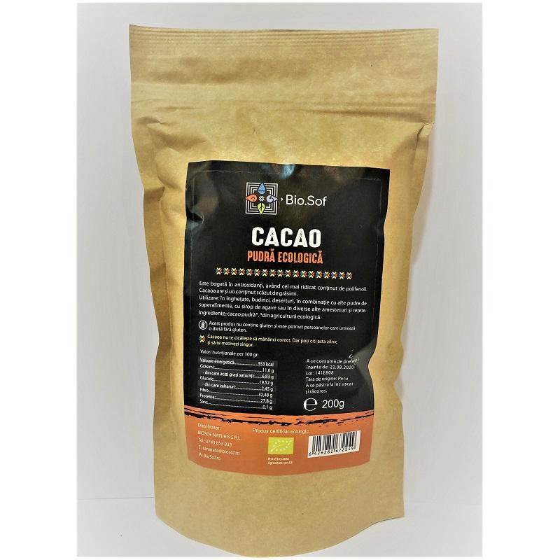 Cacao pudră Eco, 200 gr, Biosof