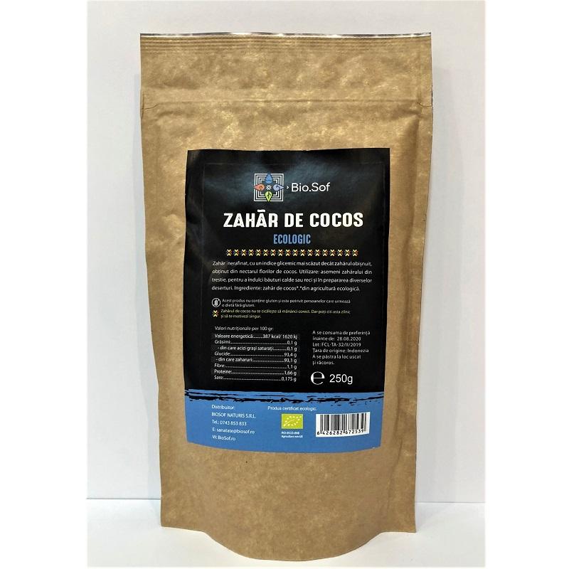Zahăr de cocos ecologic, 250 gr, Biosof