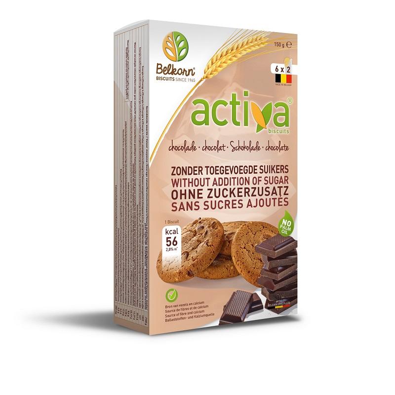 Biscuiti Activa cu ciocolata, fara zahar adaugat, 150 gr, Belkorn