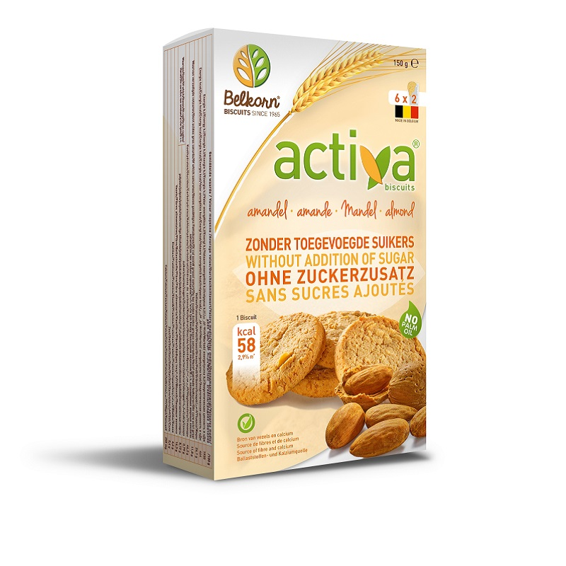 Biscuiti activa cu migdale (fara zahăr adaugat), 150 gr, Belkorn