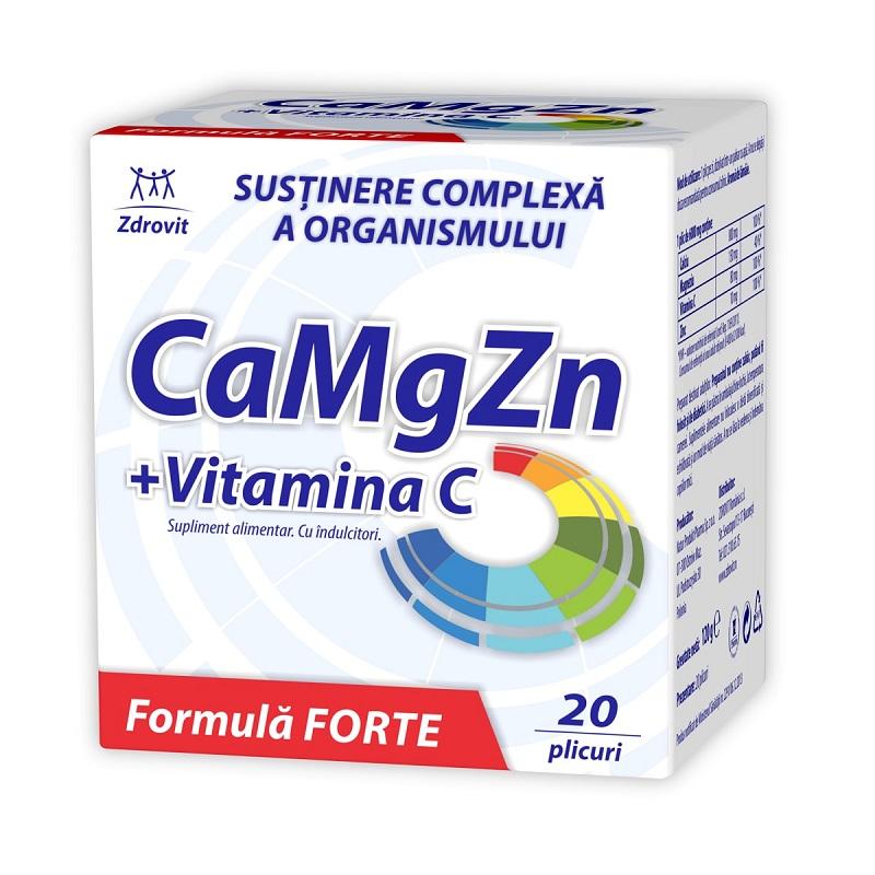 Calciu, Magneziu, Zinc si Vitamina C Forte, 20 plicuri, Zdrovit