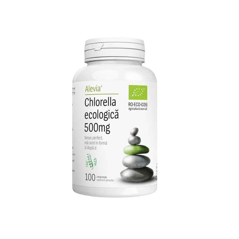 Chlorella ecologică, 500mg, 100cps, Alevia