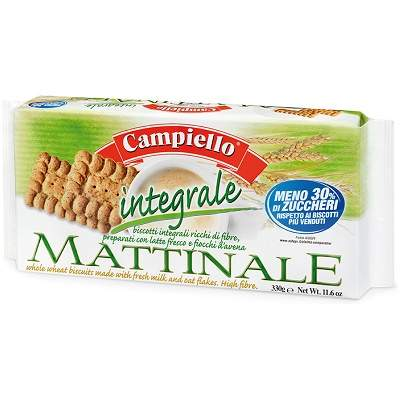 Biscuiti Matinale integrali cu 7% fibre, 330 g, Campiello