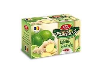 Ceai de ghimbir si lamai verzi Aromafruct, 20 plicuri, Fares