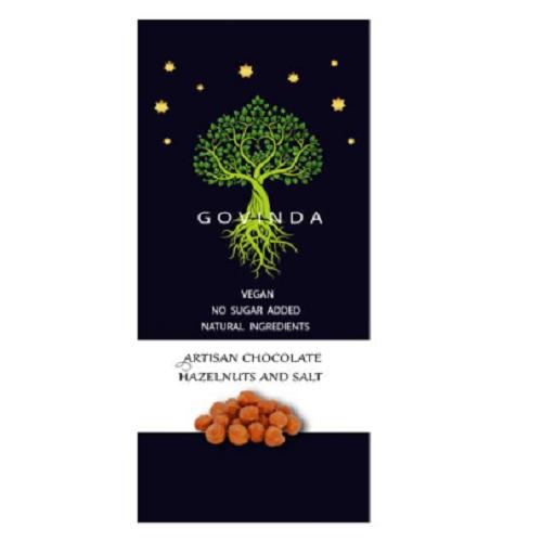Ciocolată vegana artizanală cu Alune și sare, 100 g, Govinda