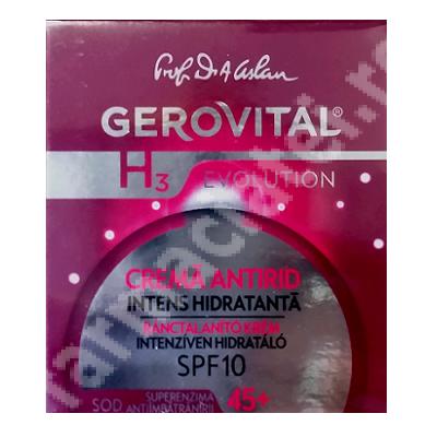 Cremă antirid intens hidratantă, 45+ SPF10 Gerovital H3 Evolution, 50 ml, Farmec