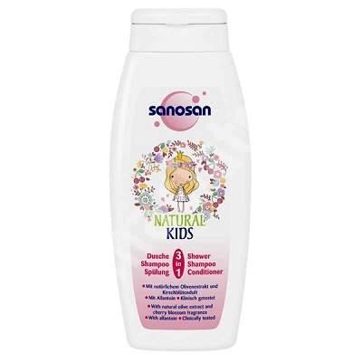 Șampon și balsam, pentru fetițe, 3 în 1, 250 ml, Sanosan