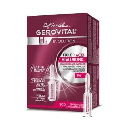Fiole cu acid hialuronic Gerovital H3 Evolution, 10 fiole x 2 ml, Farmec