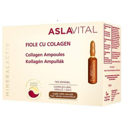 Fiole cu colagen pentru ten sensibil AslaVital, 10 fiole ml, Farmec