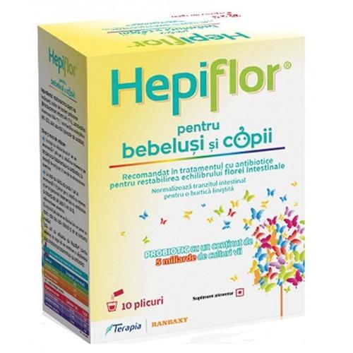 Hepiflor probiotic pentru bebeluși și copii, 10 plicuri, Terapia