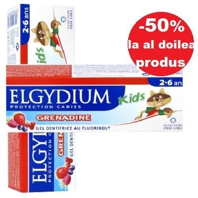 Ofertă Pachet Pastă de dinți gel cu rodie pentru copii, 2-6 ani, 50ml, Elgydium