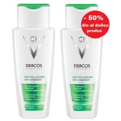 Pachet Șampon anti-mătreață scalp sensibil Dercos Sensitive, 1+1, Vichy