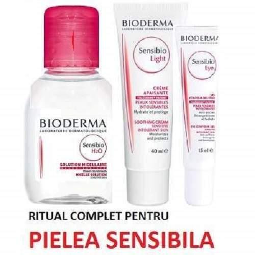 Ofertă Pachet Sensibio Legere 40ml, Contur de ochi 15ml și Soluție micelară H2O 100ml, Bioderma