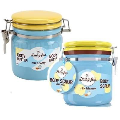 Pachet Exfoliant și Unt de corp cu lapte și miere Dairy Fun, Delia Cosmetics