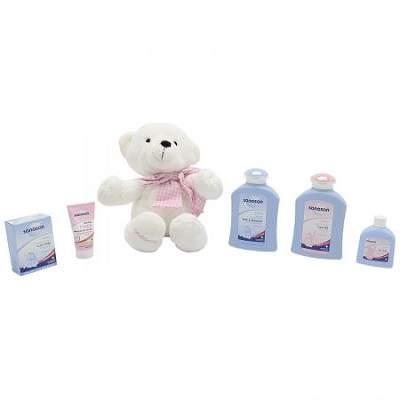 Pachet îngrijire Kids roz cu ursuleț cadou, Sanosan