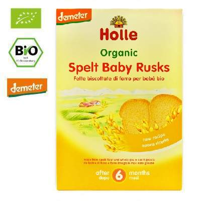 Pâine uscată Eco din Grâu Spelt, +6 luni, 200 g, Holle Baby Food
