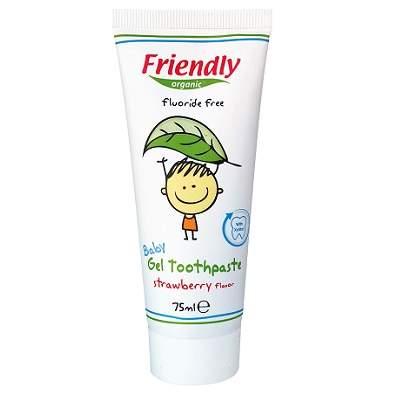 Pasta de dinti pentru copii cu aroma de capsuni, 75 ml, Friendly Organic