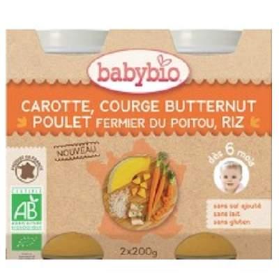 Piure Bio din pui morcov, orez si dovleac, +6luni, 2X200g, BabyBio