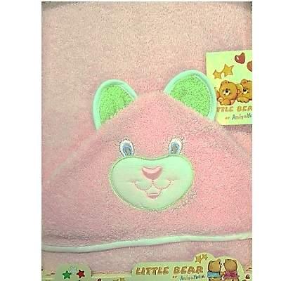 Prosop cu capișon, ursuleț roz, +0 luni, 70x75 cm, Andy&Helen