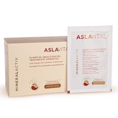 Pudră de argilă pentru tratamente cosmetice Aslavital, 10 plicuri, Farmec