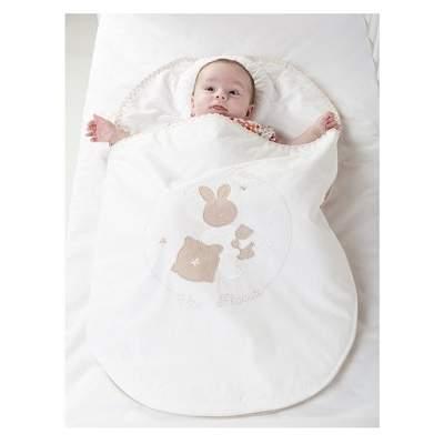 Sac de dormit alb, cu pernă contra plagioencefaliei, +0 luni, Bebedeco