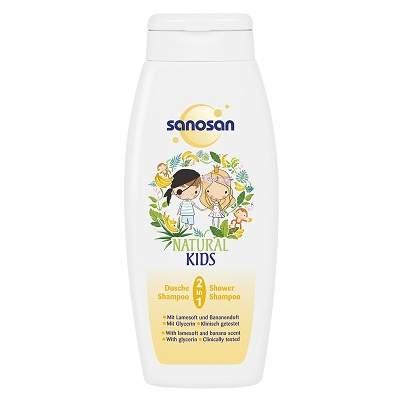 Șampon și gel de dus 2 în1 aroma banane Natural Kids, 250ml, Sanosan