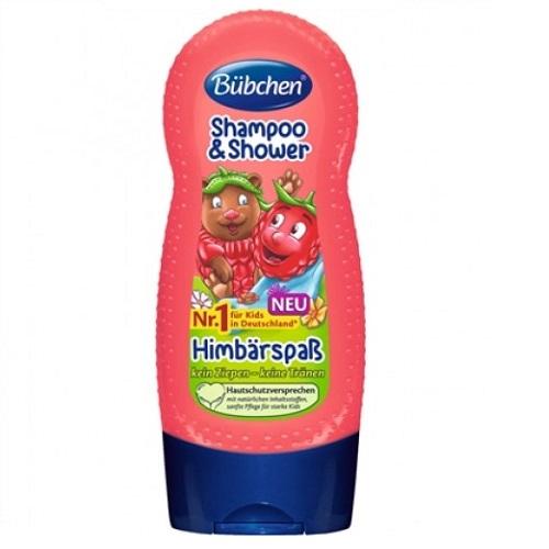 Șampon și gel de dus Zmeura veselă, 230 ml, Bubchen