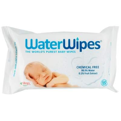 Servetele umede pentru bebeluși, +0 luni, 60 bucati, WaterWipes