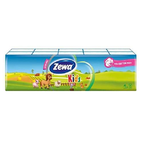 Servetele uscate batistute Kids, 4 straturi, 10x10 buc, Zewa