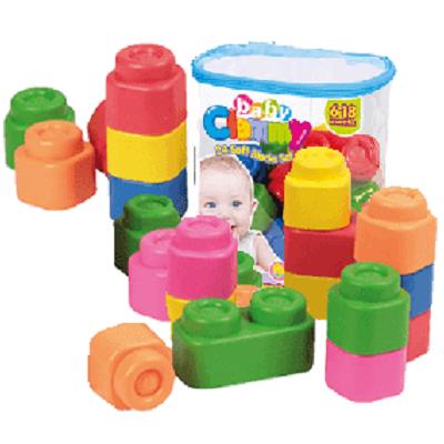 Set cuburi și figurine moi, Ferma Veselă, +6 luni, CL17101, Clementoni