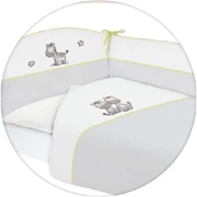 Set lenjerie pat, gri, cu zebră, 3 piese, Ceba Baby