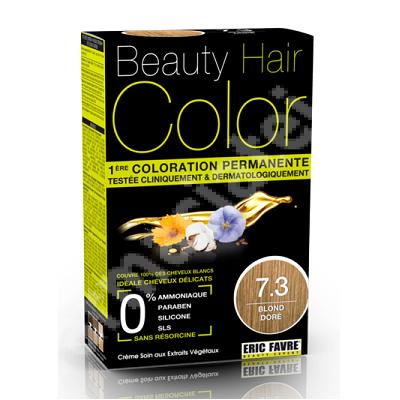 Vopsea de păr Blond Dore, Nuanța 7.3, 160 ml, Beauty Hair Color