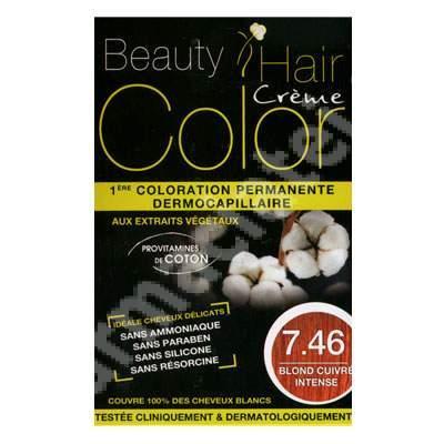 Vopsea de păr cu extracte vegetale și bumbac Intense Copper Blonde, Nuanța 7.46, 160 ml, Beauty Hair Color