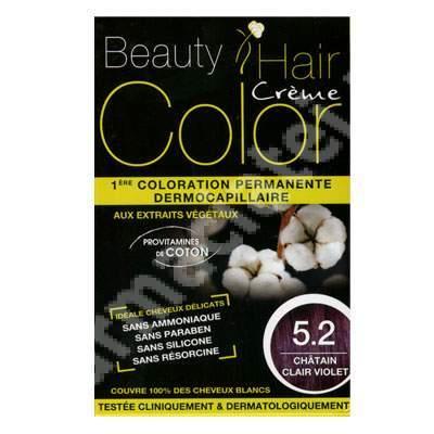 Vopsea de păr cu extracte vegetale și bumbac Light Violet Chestnut, Nuanța 5.2, 160 ml, Beauty Hair Color